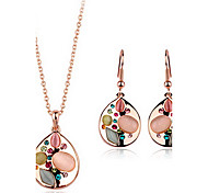 Fashion 18K Gold Plated Multi-Color Crystal And Opal (Includes Necklace And Earrings) Jewelry Set