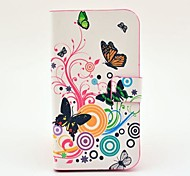 For Samsung Galaxy Case Card Holder / with Stand / Flip / Pattern / Magnetic Case Full Body Case Butterfly PU Leather Samsung S4