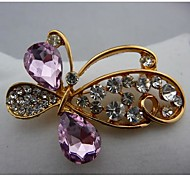 Fashion Beautiful Pink Austrian Crystal Butterfly Brooches