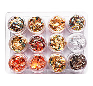 12PCS Mixed Color Foil Nail Art Decoration Golden Silver Colorful Foil