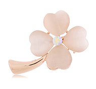 High-Quality Crystal Clover Brooch