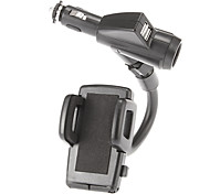 Dual USB Cigar Socket Charger with 40mm to 90mm Width Adjustable Mount Holder for iPhone 5/5S/5C and Others (5V 1A/2A)