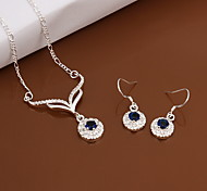 Sweet Silver Plated Copper (Necklaces&Earrings) (Blue)