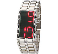 Men's Morror Face Red Led Digital Dial Steel Band Quartz Analog Wrist Watch