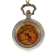 Unisex Vintage Map Pattern Quartz Analog Pocket Watch