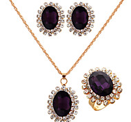 Fashion Gold Gold Plated (Necklace&Earrings&Ring) Gemstone Jewelry Set(Gold))