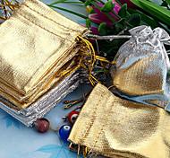 50pcs Gold & Silver 5x7cm Drawstring Organza Bag
