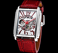 Unisex Skeleton Rectangle Dial Leather Band Auto-Mechanical Wrist Watch (Assorted Colors)