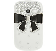 Black Bowknot Diamond Spot Drill Pattern White Hard Back Case Cover for Samsung Galaxy Fame S6810