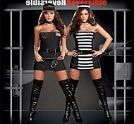 Reversible Ladies Guardia de la cárcel y Convicto Traje del preso con las esposas y Spontoon