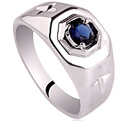 Uomo Bianco Finitura Solid Gold Sterling Silver Ring Stella Carves Decorazione