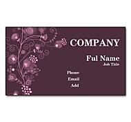 200pcs Personalized 2 Sides Printed Matte Film Purple Flower Pattern Business Card