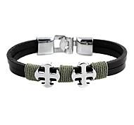 Punk 7cm Men's black Leather Leather Bracelet (1 Pc)