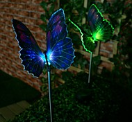 1-LED Colorful Light LED Solar Light Fibre Optic Butterfly Stake Lights (2 pcs)
