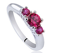 3-Stone Women 925 Sterling Silver Wedding Ring With Round Cubic Zirconia
