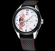 Creux de gravure ronde hommes cadran avec sous-cadrans bande de silicone auto-Merchanical montre-bracelet (couleurs assorties)