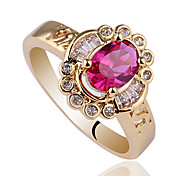 S-Carve On Band Women's Gold Finish 925 Sterling Silver Ring With Oval Shape Zircon