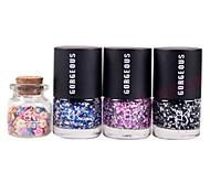 3PCS Candy Color Nail Polish with 1 Bottle 3D Fimo Slice Fruit Decoration Nail Art Set No.8