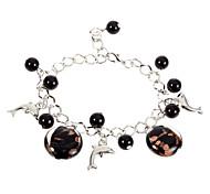 Fashion 22Cm Women'S Silver Alloy Charm Bracelet(Black,White)(1 Pc)