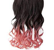 16 Zoll Clip in Synthetic Schwarz und Pink Gradient Wavy Hair Extensions mit Clips 5