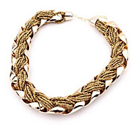 European Gold Alloy Strands Necklace(Pink,Black,Blue,Brown)(1 Pc)
