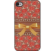 Gorgeous Gold Bowknot with Roses Pattern PC Hard Case with 3 Packed HD Screen Protectors for iPhone 4/4S