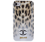 Stylish Leopard Print Pattern White Smooth Anti-shock Case with Black Frame for iPhone 4/4S