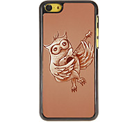 Owl Playing Guitar Pattern PC Hard Case with 3 Packed HD Screen Protectors for iPhone 5C