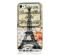 Vintage Style Iron Tower and Letter Pattern Transparent Frame Back Case for iPhone 4/4S