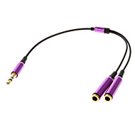 1 to 2 3.5mm M/F Sharing Audio Cable Purple(0.1M)