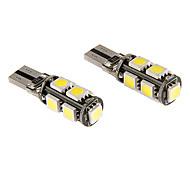 T10 5W 9x5060SMD 380LM 5500-6500K refrescan la lámpara LED de luz blanca para coche (12V)