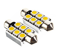 Festoon 1.4W 6x5050SMD 100LM 3000K Warm White Light LED Bulb for Car (12V,2 pcs)