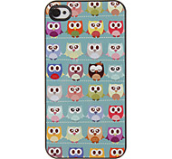 Cute Owls Pattern PC Hard Case with 3 Packed HD Screen Protectors for iPhone 4/4S