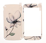 Flower Pattern Front and Back Leather Screen Protector Stickers for Samsung Galaxy Grand Duos i9082