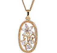 Gold plated bronze zircon Pendant Necklace D0580