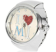 Frauen I Love MJ Muster Legierungs-Quarz-Analog-Ring-Uhr