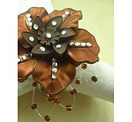 Floral boda de la perla Anillo de servilleta Conjunto De 6, Dia 4.5cm
