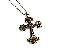 Vintage (Cross Pendant) Bronze Alloy Pendant Necklace(1 Pc)