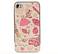 Fashion Paris Pattern Pasting Skin Case for iPhone 4/4S