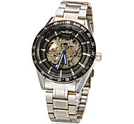 Men's Automatic Mechanical Black Skeleton Dial Silver Steel Band Wrist Watch