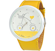 Women's Bicycle Pattern Round Dial PU Band Quartz Analog Wrist Watch (Assorted Colors)