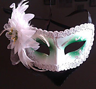 Green And White Feather Folwer Purfle Plastic Half-face Mask