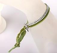 Two Rows Of Green Velvet Buckle Bracelet
