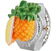 Girl's Pineapple Design Silver Alloy Quartz Ring Watch