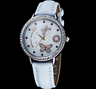 Women's Butterfly Pattern Leather Band Quartz Analog Wrist Watch (Assorted Colors)