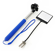 6-Fold Blue Retractable Handheld Monopod with Strap and Mirror for Gopro Hero Camera