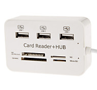 HY-619 All-in-one USB 2.0 Memory Card Reader con HUB USB (Bianco)