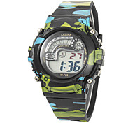 De los niños de múltiples funciones del dial redondo camuflaje Rubber Band LCD reloj de pulsera digital (color surtidos)