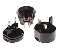 EU UK US AU Universal Travel Power Switch Adapter Black