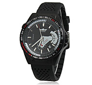 Men's Calendar Black Silicone Band Automatic Mechanical Wrist Watch